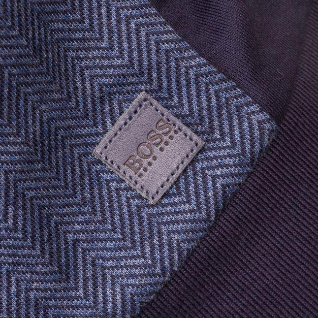Mens Dark Blue Loungewear Herringbone Crew Sweat Top