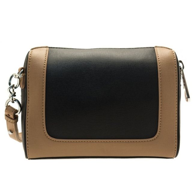 Womens Black & Warm Sand Colour Block Cross Body Bag