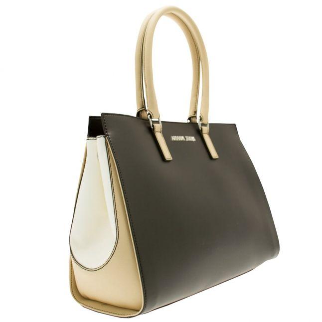 Womens Black Colour Block Top Handle Bag