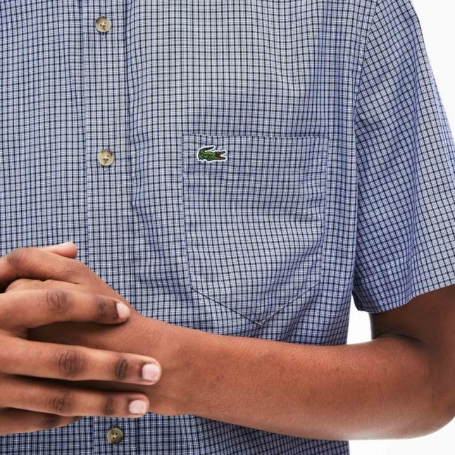 Mens Navy/Purple Small Check Cotton S/s Shirt
