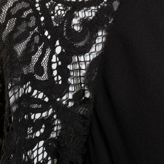 Womens Black Taza Lace & Drape Back Top