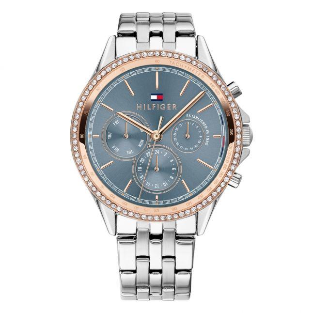 Womens Silver/Rose Gold/Blue Bracelet Watch