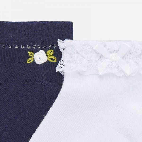 Infant Navy/White Frill & Flower 2 Pack Socks