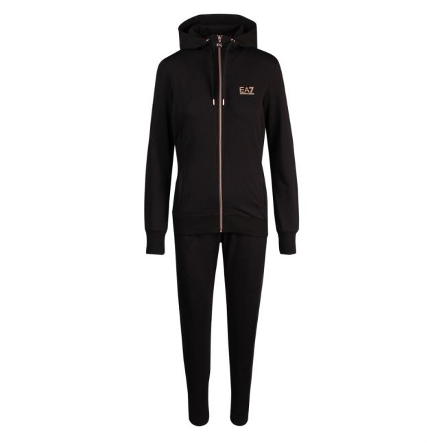 Womens Black Training Hooded Zip Through Tracksuit