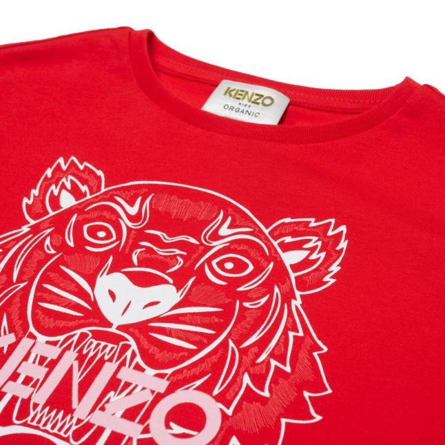 Girls Bright Red Tiger Loose Fit S/s T Shirt