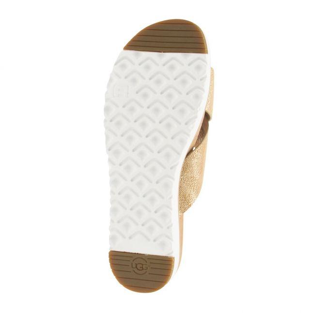 Womens Gold Kari Metallic Slides