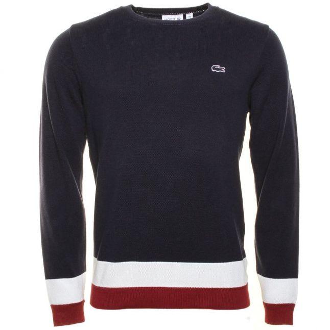 Mens Navy Made In France Stripe Bottom Crew Knitted Jumper