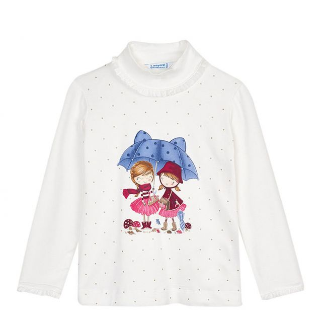 Girls Cream/Red Friends + Umbrella L/s T Shirt
