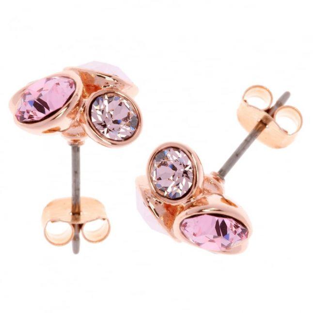 Womens Rose Gold & Pink Lynda Cluster Studs