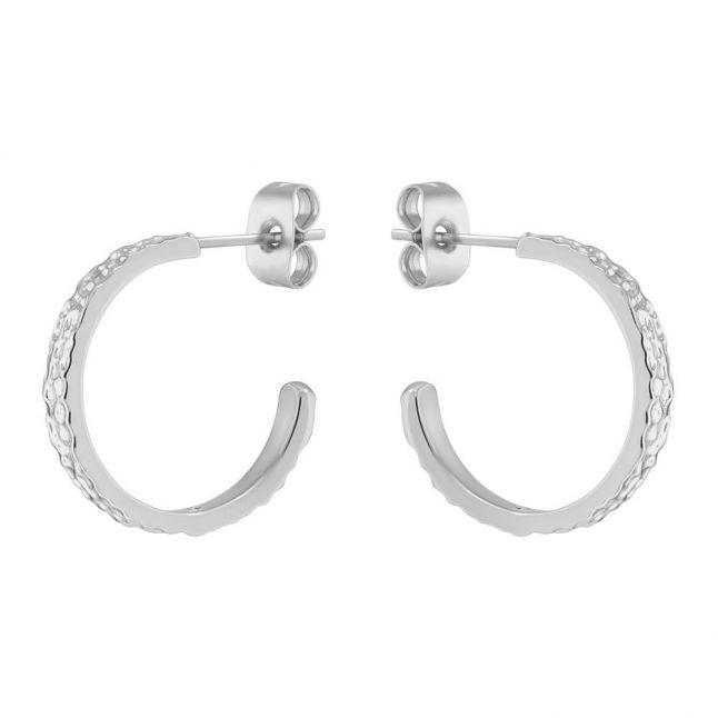 Womens Silver Heanna Hammered Hoop Earrings