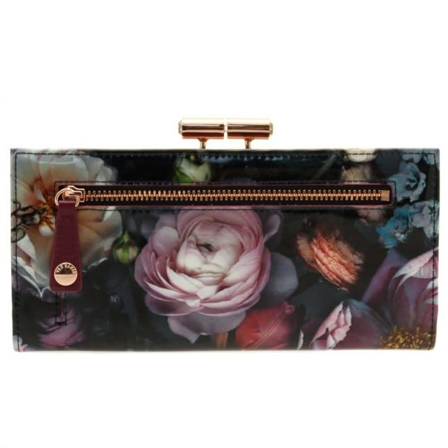Womens Mid Grey Mawson Shadow Floral Patent Matinee Purse