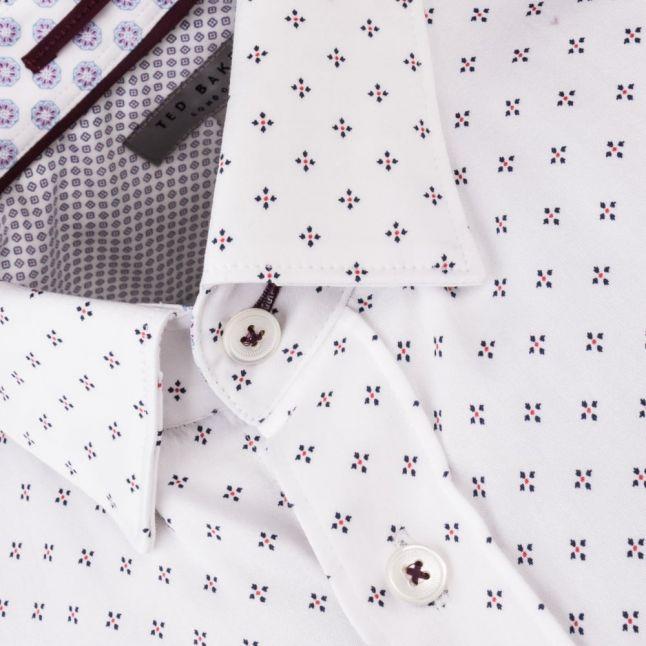Mens White Sobossy Micro Geo Printed L/s Shirt