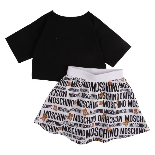 Girls Black/White Logo Toy Print Top & Skirt Set