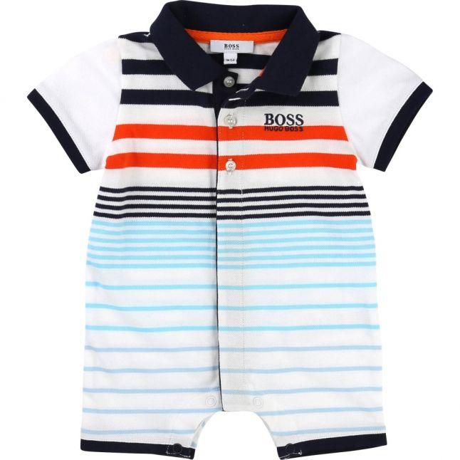 Baby White, Blue & Orange Polo Romper