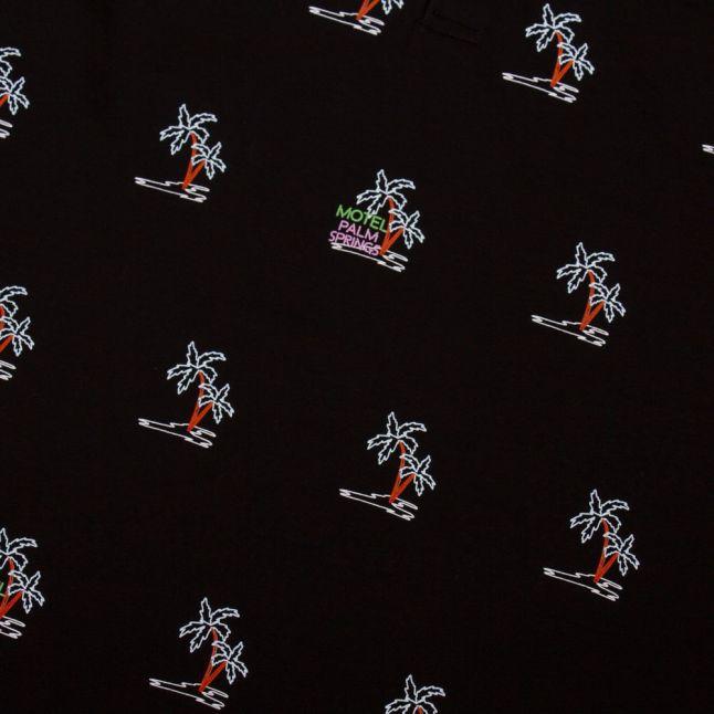 Mens Black Kimche Embroidered S/s Polo Shirt