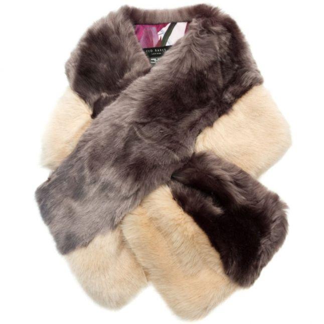 Womens Mid Purple Wyn Two-Tone Faux Fur Scarf