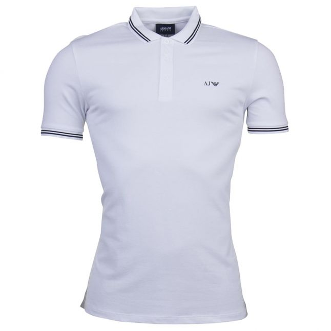 Mens White Tipped Regular Fit S/s Polo Shirt