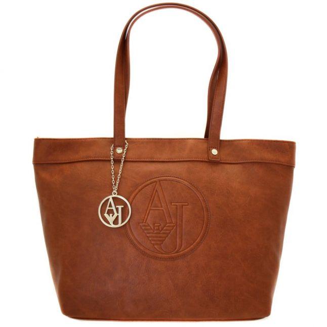 Womens Tan Logo Shopper Bag