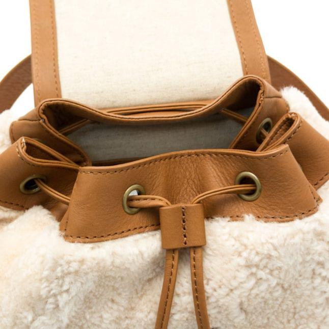 Womens Chestnut & Natural Vivienne Sheepskin Backpack