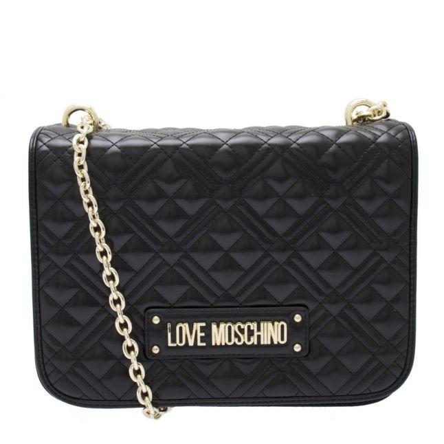 Womens Black Diamond Quilted Shoulder Bag