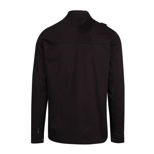 Mens Jet Black Zip Through Overshirt