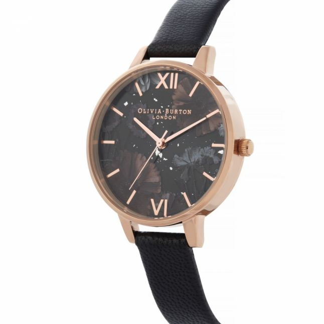 Womens Black & Rose Gold Celestial Watch