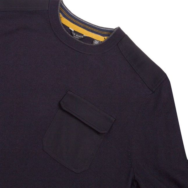 Mens Navy Saysay Patch Pocket Crew Knitted Jumper