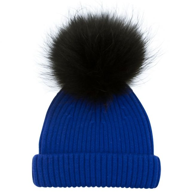 Womens Electric Blue & Black Wool Hat With Changeable Fur Pom
