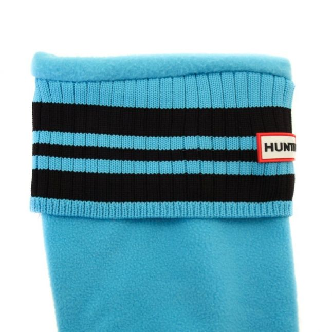 Womens Sky Blue & Black Tall Sport Ribbed Cuff Wellington Socks