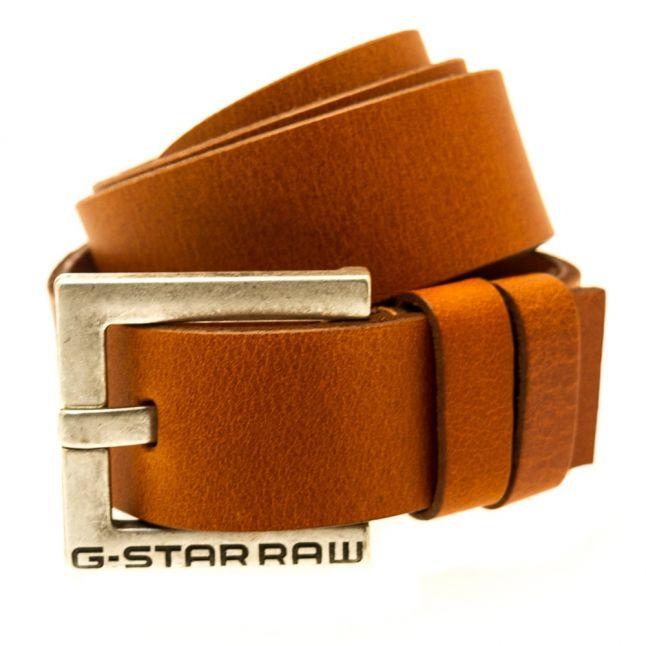 Mens Dark Cognac Duko Leather Belt