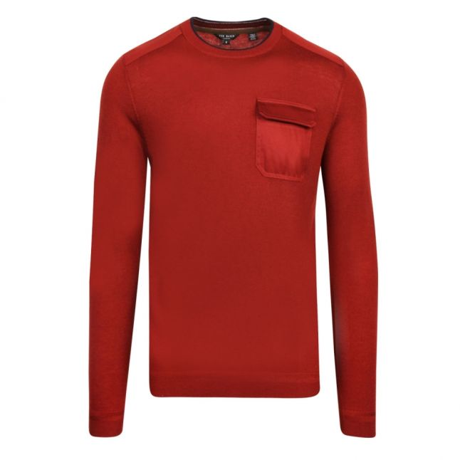 Mens Dark Red Saysay Patch Pocket Crew Knitted Jumper