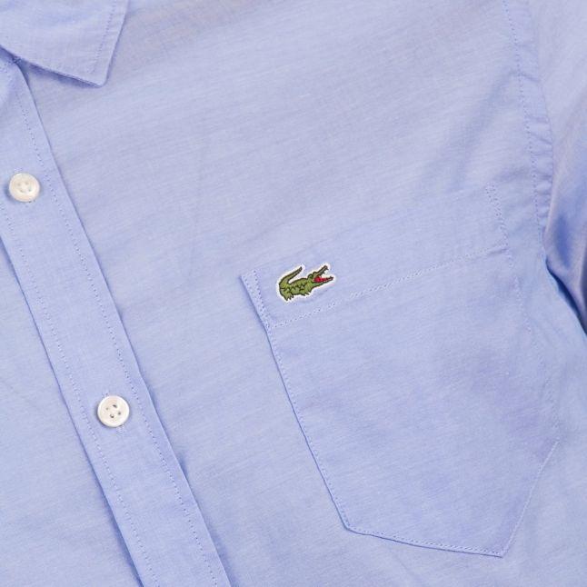 Mens Blue Branded Slim Fit S/s Shirt