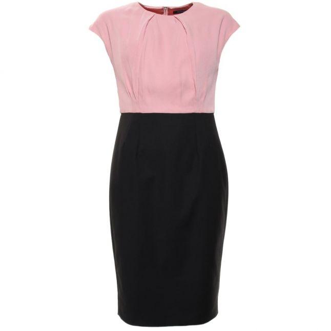 Womens Black & Rose Tan Rikki Crepe Two Tone Dress