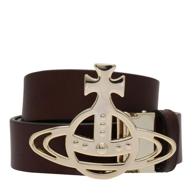 Womens Brown/Gold Line Orb Buckle Leather Belt