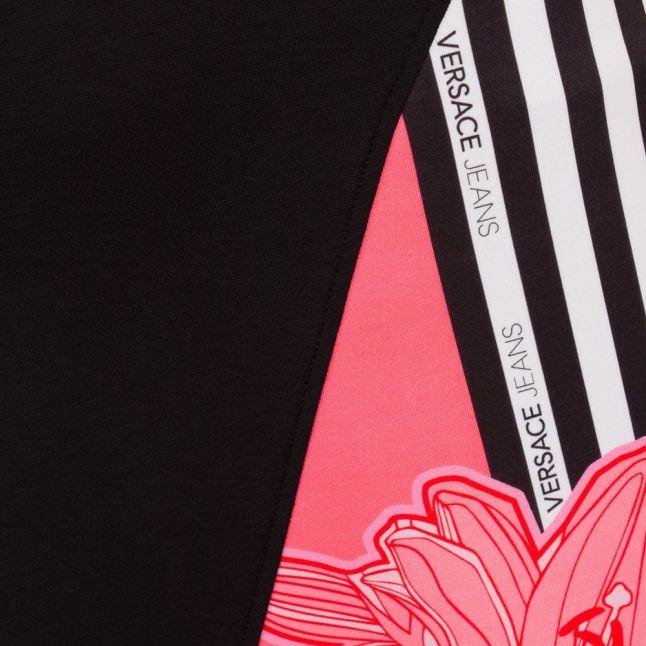 Womens Black Stripes & Flower Dress