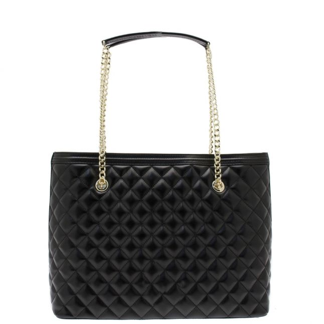 Womens Black Quilted Shopper Bag