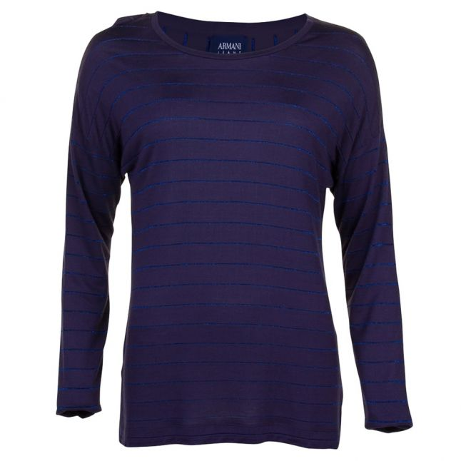 Womens Navy Striped L/s Tee Shirt