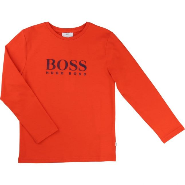 Boys Red Branded L/s Tee Shirt