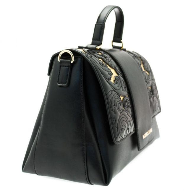 Womens Black Stitch Patterned Cross Body Bag
