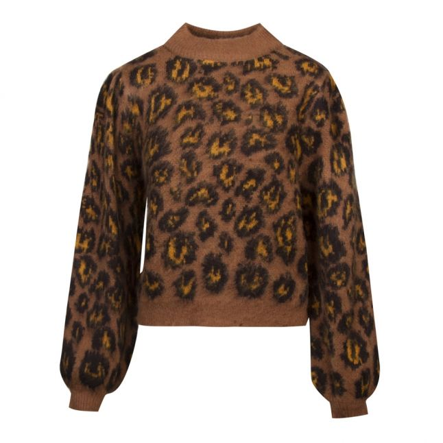 Womens Toffee Vivild Animal Funnel Neck Knitted Jumper