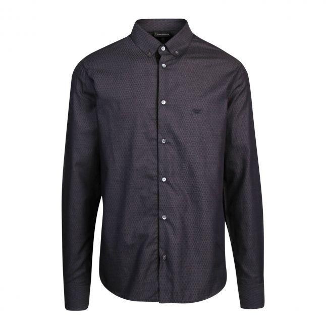 Mens Dark Blue Micro Diamond L/s Shirt