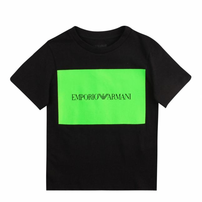 Boys Black Neon Box Logo S/s T Shirt