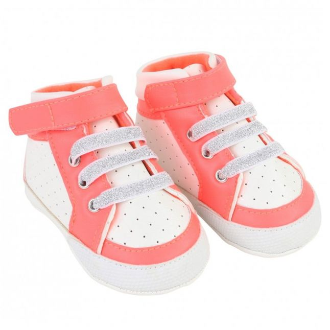Baby Pink & White Perforated Trainers