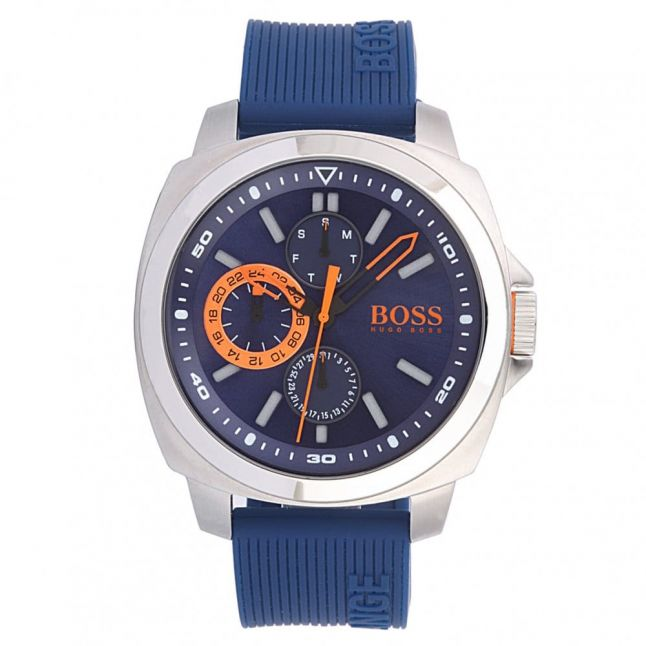 Watches Mens Blue Dial Silicone Strap Watch