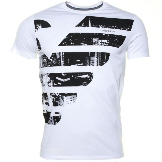 Mens White Eagle Photo Slim Fit S/s Tee Shirt