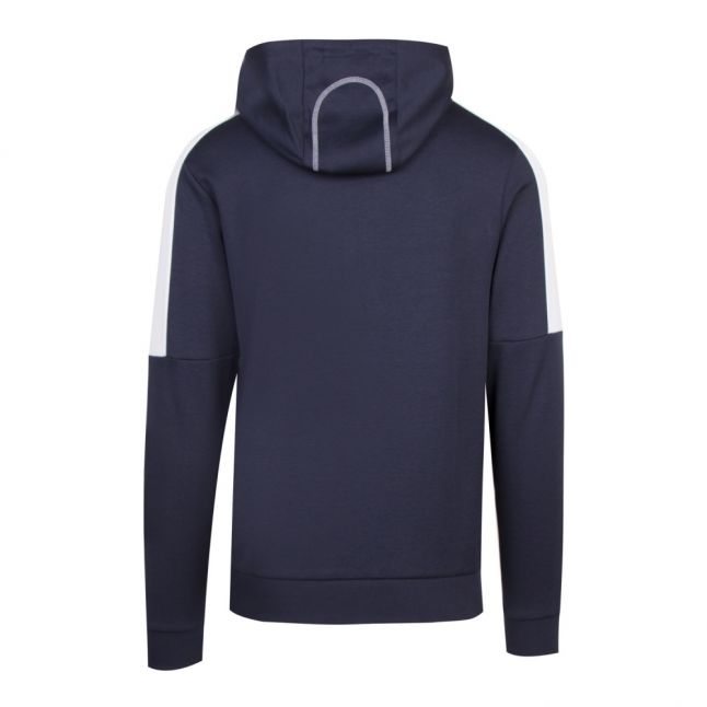 Athleisure Mens Navy/Coral Saggy Hooded Zip Through Sweat Top