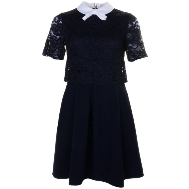Womens Navy Dixxy Lace Bodice Double Layer Dress