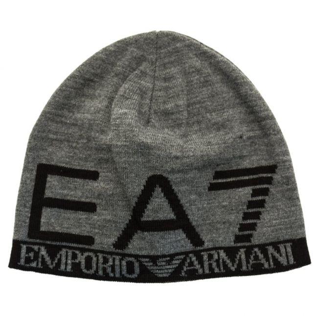 Mens Grey Melange Train Visibility Beanie Hat