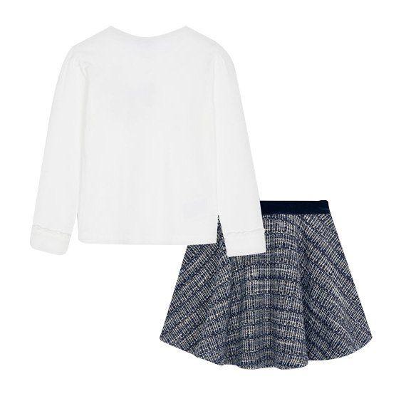 Girls Navy Velvet Leggings & L/s T Shirt Set