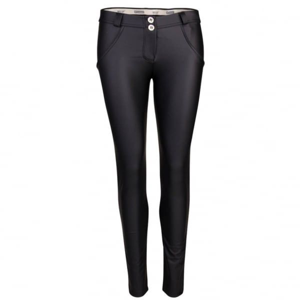 Womens Faux Leather Mid Rise Skinny Jeans